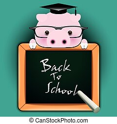 Funny pig around a blackboard