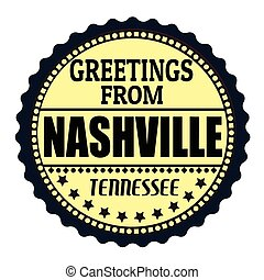 Greetings from Nashville label - Label or rubber stamp with...