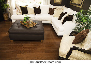 Beautiful living room with hard wood flooring