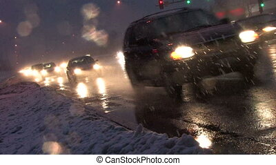 Traffic in Blizzard, Canted 1 - Canted angle of rush hour...