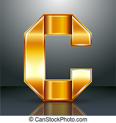 Letter metal gold ribbon - C
