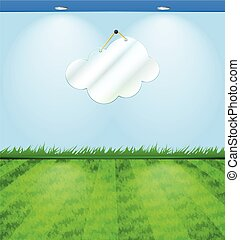 Eco themed room with cloud shaped mirror and grass