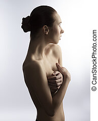 artistic portrait of nude woman - portrait of naked sexy...