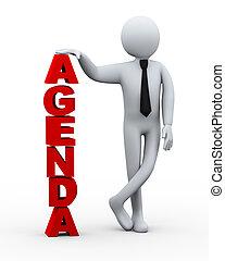 3D, homem negócios, palavra, agenda