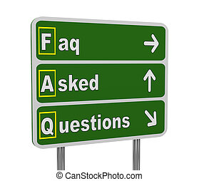 3d green road sign of faq - 3d illustration of green...