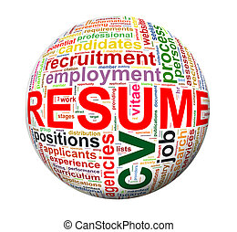 Resume wordcloud word tags - Illustration of sphere ball of...