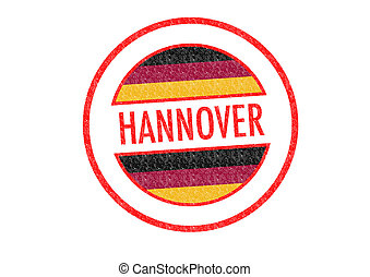 HANNOVER - Passport-style HANNOVER rubber stamp over a white...