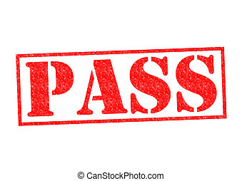 PASS Rubber Stamp over a white background