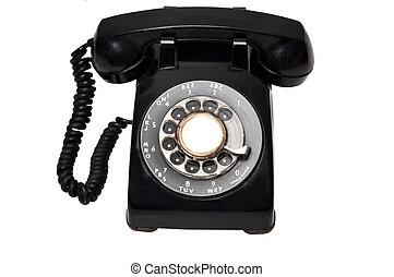 Vintage Black Telephone - Vintage black telephone isolated...