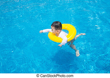 baby boy Activities on the pool, children swimming - baby...