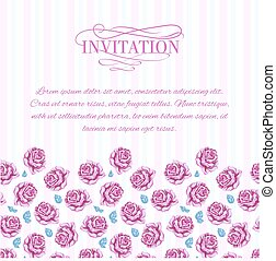 Invitation cards with flowers and lines. Vector...