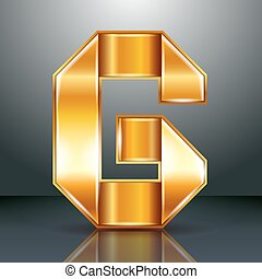 Letter metal gold ribbon - G