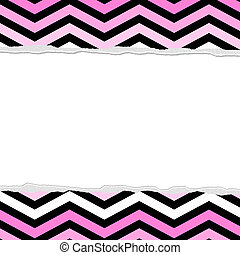 Pink, White and Black Chevron Torn  Background for your message or invitation with copy-space in the middle