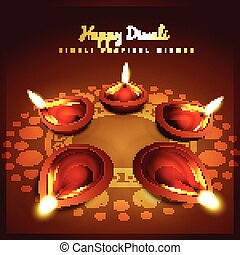diwali greeting - vector beautiful diwali background design