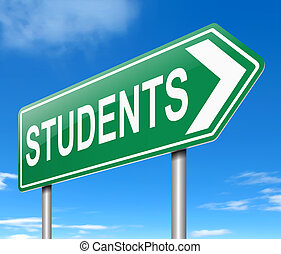 Student concept. - Illustration depicting a sign with a...