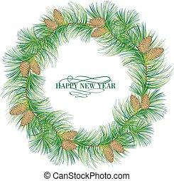 Garland of evergreen fir on white.