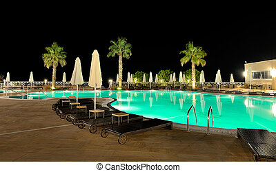 Swimming pool in night illumination, Halkidiki, Greece