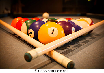 Billiard balls on pool table  - Billiard balls on pool table