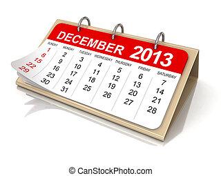 Calendário, -, Dezembro, 2013