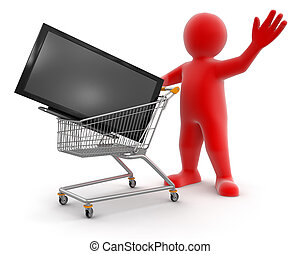 Man and Shopping Cart with TV