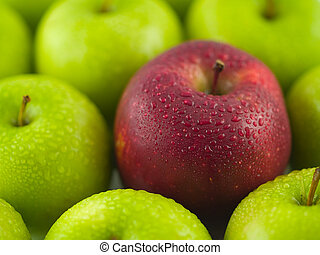 Green Apples with a Single Red Delicious