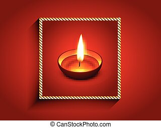 elegant diwali diya enclosed on golden frame