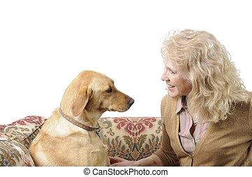 White Labrador and mistress - A female White Labrador dog...