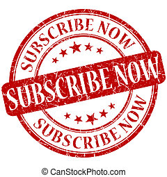 subscribe now grunge round red stamp