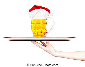 tray with Beer and hat of Santa