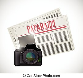 paparazzi newspaper and camera concept illustration design...