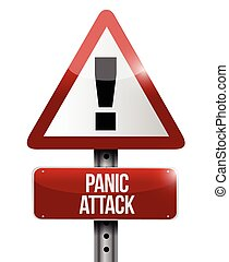 panic attack road sign illustration design over a white...