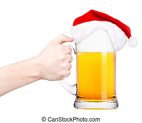 toast with Beer and hat of Santa