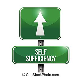 self sufficiency road sign illustration design over a white...