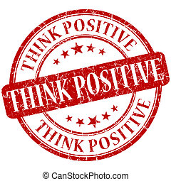 think positive grunge round red stamp
