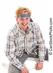 Party is my life! - Young attractive party guy with a tie...