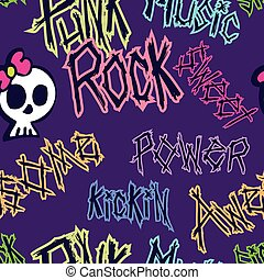 Girly Punk Rock Pattern - A punk styled seamless pattern...
