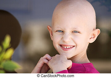 cancer child - a caucasian child with cancer