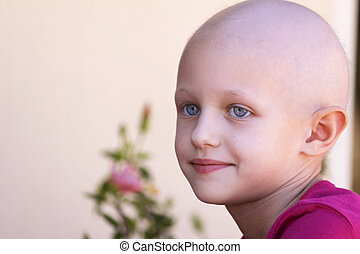 cancer child - a caucasian child with cancer with a lovely...