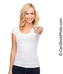 happy woman in blank white t-shirt pointing at you -...