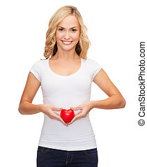 woman in blank white shirt with small red heart - shirt...