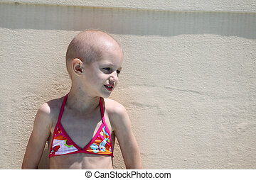 child with cancer - a caucasian child cured from cancer...