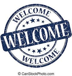 welcome grunge round blue stamp
