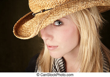 Pretty blonde teenager in a cowboy hat - Blonde teenager...