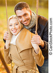 romantic couple in the autumn park