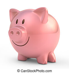 Piggy Bank - Piggy bank with smiling face.
