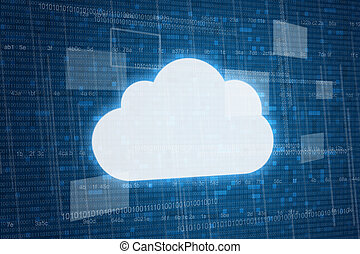 Cloud on digital background, cloud computing concept
