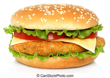 Big chicken hamburger on white background