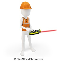 3d man surveyor with laser distance meter ,hardhat and...