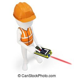 3d man surveyor with laser distance meter ,hardhat and safety vest