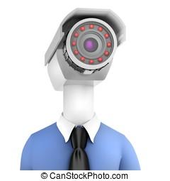 3d close-up man security camera surveillance